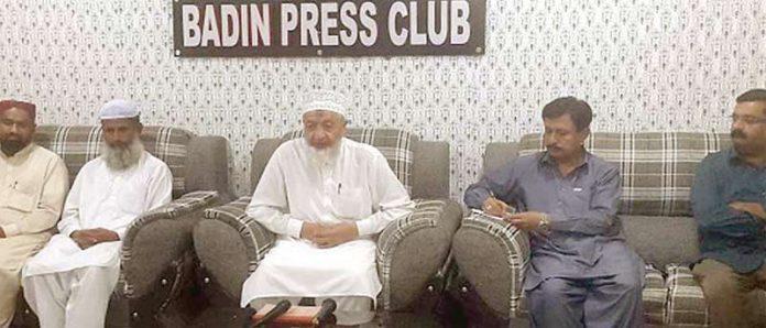 بدین: امیر جماعت اسلامی سندھ محمد حسین محنتی پریس کلب میں صحافیوں سے گفتگو کررہے ہیں