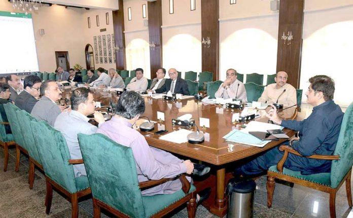 کراچی :وزیر اعلیٰ سندھ ریونیو بورڈ کے افسران کے اجلاس سے خطاب کر رہے ہیں