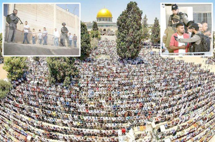مقبوضہ بیت المقدس: لاکھوں مسلمان قبلہ اول میں نمازِ جمعہ ادا کررہے ہیں' فلسطینی شہری اسرائیلی رکاوٹوں سے گزر کر مسجد اقصیٰ پہنچنے کی کوشش کررہے ہیں