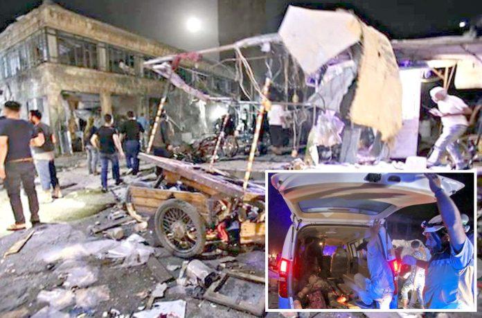 معرۃ النعمان: روسی بم باری کے نتیجے میں بازار تباہ ہوگیا ہے' لاشیںا ور زخمی اسپتال منتقل کیے جارہے ہیں