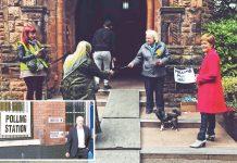 برطانیہ: فرسٹ منسٹر اسکاٹ لینڈ نکولا اسٹرجن پولنگ اسٹیشن کے باہر کھڑی ہیں' اپوزیشن رہنما جیرمی کوربن ووٹ ڈال کر باہر آرہے ہیں