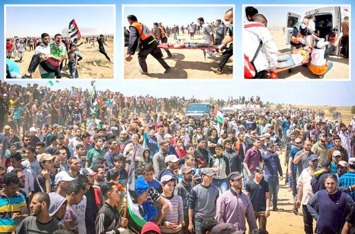 غزہ: فلسطینیوں کے قافلے اسرائیل سے متصل سرحد کی جانب بڑھ رہے ہیں' صہیونی فوج کی فائرنگ سے زخمی ہونے والوں کو اسپتال منتقل کیا جارہا ہے