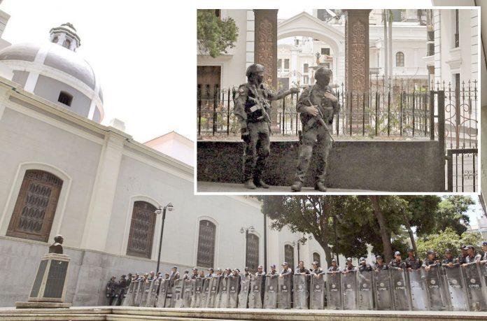 کراکس (وینزویلا): سیکورٹی فورسز نے پارلیمان کو گھیر کے تمام راستے بند کررکھے ہیں