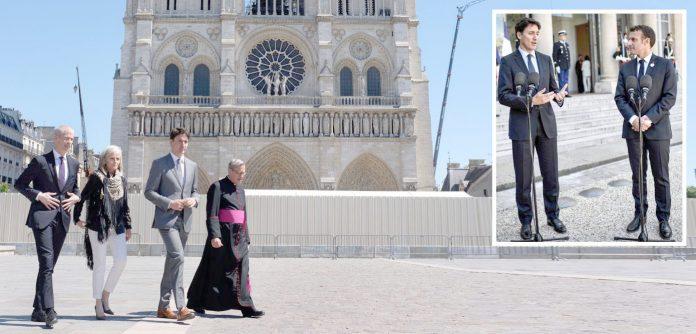 پیرس: کینیڈین وزیراعظم جسٹن ٹروڈو نوٹریڈیم کیتھڈرل کا دورہ اور فرانسیسی صدر عمانویل ماکروں کے ساتھ پریس کانفرنس کررہے ہیں