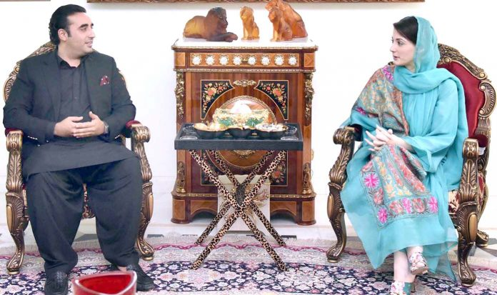 لاہور: پیپلزپارٹی کے چیئرمین بلاول زرداری جاتی امرا میں ن لیگ کی نائب صدر مریم نواز سے ملاقات کررہے ہیں