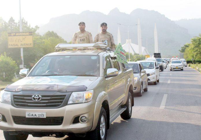 اسلام آباد: محکمہ انسداد منشیات کی جانب سے عوامی آگہی کے لیے فیصل مسجد تا ایف نائن پارک ریلی نکالی جارہی ہے