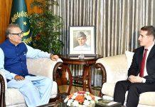 اسلام آباد: صدر مملکت ڈاکٹر عارف علوی سے آذربائیجان کے سفیر علی فقراط علی زادہ ملاقات کررہے ہیں