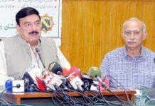 لاہور: وزیر ریلوے شیخ رشید پریس کانفرنس کررہے ہیں