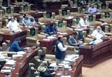 کراچی: اپوزیشن لیڈر فردوس شمیم نقوی سندھ اسمبلی اجلاس میں خطاب کررہے ہیں
