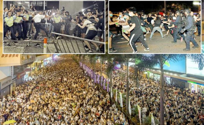 ہانگ کانگ: چین کو مشتبہ مجرموں کی حوالگی سے متعلق مجوزہ قانون کے خلاف مظاہرہ کرنے والوں اور پولیس میں جھڑپیں ہورہی ہیں