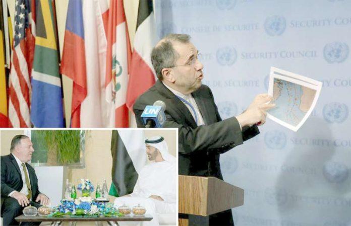 نیویارک/ ابوظبی: ایرانی مندوب ماجد تخت روانچی عالمی میڈیا کو طیارہ واقعے پر بریفنگ دے رہے ہیں' امریکی وزیر خارجہ پومپیو ولی عہد محمد بن زاید سے ملاقات کررہے ہیں