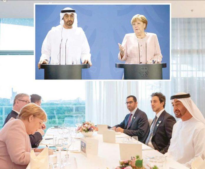 برلن: جرمن چانسلر انجیلا مرکل اور ولی عہد ابوظبی محمد بن زاید النہیان مذاکرات اور پریس کانفرنس کررہے ہیں