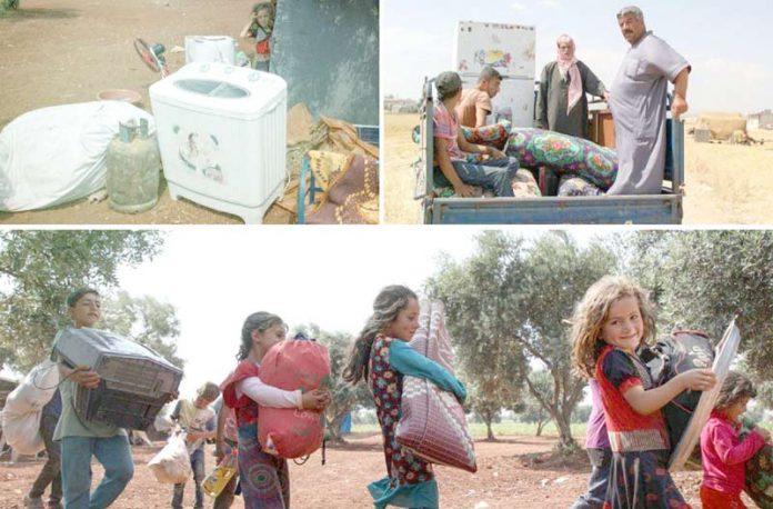 ادلبـ: روس اور اسدی فوج کی بم باری کے باعث نقل مکانی کرنے والے شامی شہری محفوظ پناہ گاہ کے لیے دربدر ہیں