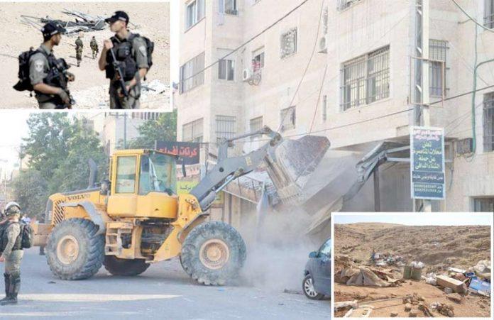 مقبوضہ بیت المقدس: قابض صہیونی فوج مغربی کنارے کے مختلف علاقوں میں فلسطینیوں کی املاک مسمار کررہی ہے