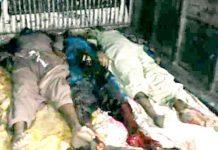 شکارپور،قبائلی تنازع پر فائرنگ سے ہلاک ہونے والوں کی نعشیں