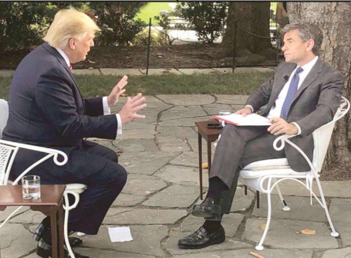 واشنگٹن: امریکی صدر ڈونلڈ ٹرمپ مقامی نیوز چینل کو انٹرویو دے رہے ہیں