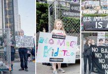 نیویارک: امریکی صدر کی سالگرہ کے موقع پر مہاجر دشمن پالیسیوں کے خلاف ٹرمپ ہوٹل کے باہر احتجاجی مظاہرہ ہورہا ہے