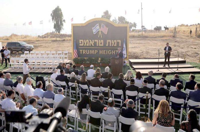 جولان/ الخلیل:ـ اسرائیلی وزیر اعظم بنیامین نیتن یاہو اور امریکی سفیر ڈیوڈ فرائیڈمین ''ٹرمپ ہائٹس'' کا افتتاح کررہے ہیں