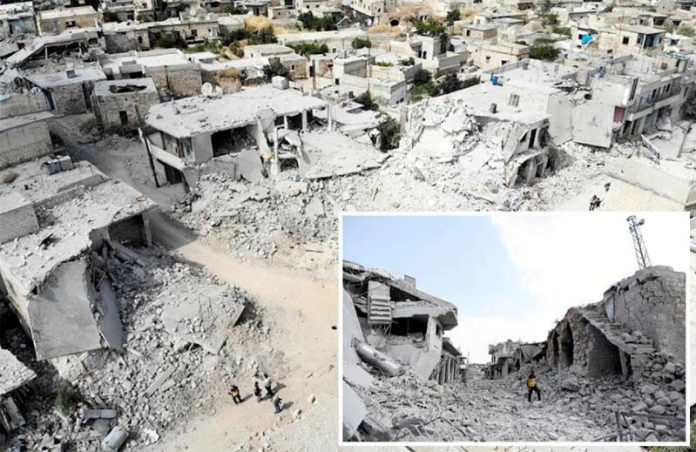 ادلبـ: بشارالاسد اور روس کی مسلسل بم باری سے آبادیاں ملیامیٹ ہوگئی ہیں