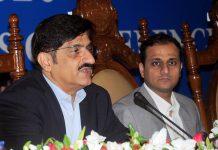 کراچی: وزیر اعلیٰ سندھ سید مراد علی شاہ پوسٹ بجٹ پریس کانفرنس سے خطاب کررہے ہیں