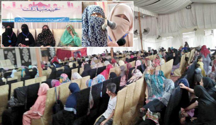 حیدرآباد: جماعت اسلامی حلقہ خواتین کے زیراہتمام عید ملن تقریب سے ناظمہ سندھ عطیہ نثاراور ناظمہ حیدرآباد رخسانہ تنویر خطاب کررہی ہیں