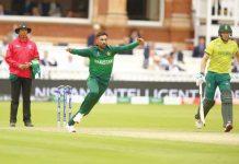 لندن:ـ لارڈز کے میدان میں محمد عامر جنوبی افریقا کے خلاف وکٹ لینے کے بعد خوشی کا اظہار کر رہے ہیں (تصویر ناصر عبداللہ کشمیری)