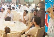 معروف دانشورشاہ نواز فارقی، محمداسحاق خان اور فضل احد سابقین جمعیت کی عید ملن سے خطاب کررہے ہیں