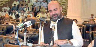پشاور: وزیرخزانہ تیمور سلیم جھگڑا پختونخوا کا بجٹ پیش کررہے ہیں