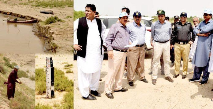 ڈویژنل کمشنر حیدر آباد محمد عباس بلوچ، ڈپٹی کمشنر مٹیاری پرویز احمد بلوچ، ایس ایم بھانوٹ بند کا دورہ کررہے ہیں
