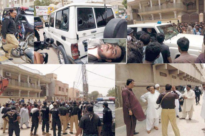حیدر آباد : قاسم آباد میں انسداد تجاوزات آپریشن کے دوران قابضین کی ہنگامہ آرائی کے بعد علاقے میں پولیس کی بھاری نفری تعینات ہیں