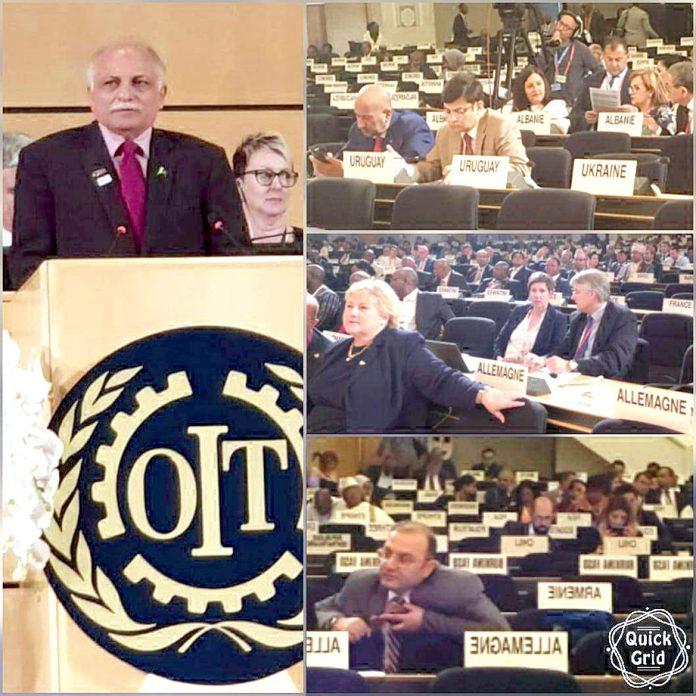 ای پی ایف کے صد مجید عزیز جنیوا میں آ ئی ایل او کے سالانہ اجلاس سے خطاب کر رہے ہیں