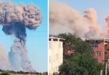قزاقستان: اسلحہ گودام میں پے در پے دھماکوں کے بعد شعلے اور دھواں بلند ہورہا ہے