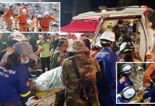 کمبوڈیا: منہدم ہونے والی عمارت کے ملبے سے نکالی گئی لاشیں اور زخمی کو اسپتال منتقل کیا جارہا ہے