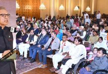 اسلام آباد، صدر عارف علوی ویل چیئر تقسیم کرنے کی تقریب سے خطاب کررہے ہیں