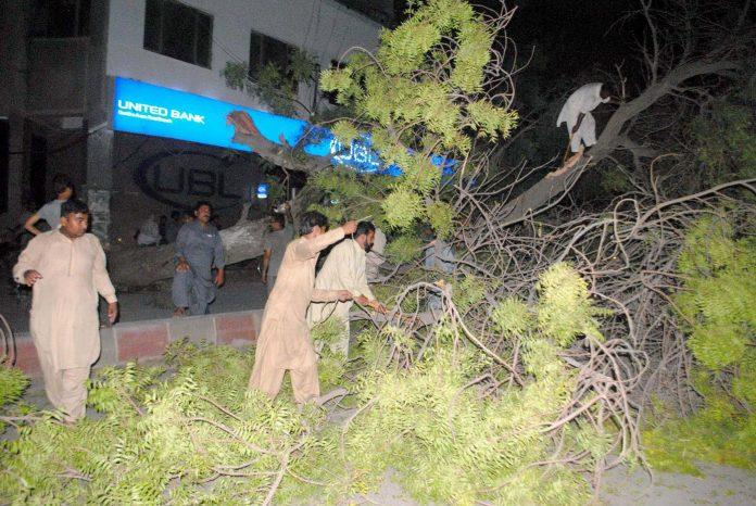حیدرآباد: گل سینٹر کے قریب شہری آندھی سے گرنے والے نیم کے درخت کو روڈ سے ہٹا رہے ہیں