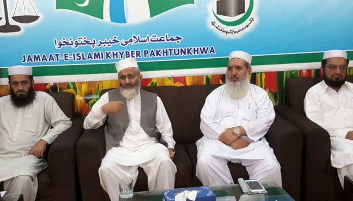 پشاور:امیر جماعت اسلامی پاکستان سینیٹر سراج الحق المرکز الاسلامی میں قبائلی اضلاع کے ذمے داران کے اجلاس سے خطاب کررہے ہیں
