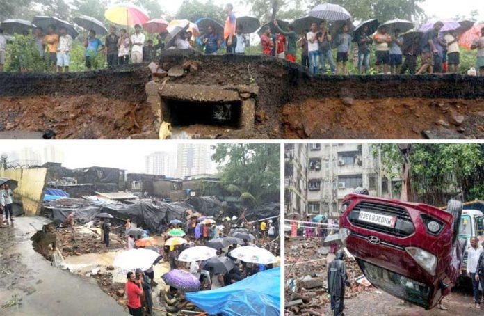ممبئی (بھارت) میں موسلا دھار بارش سے سڑکیں بہ گئیں' امدادی کارکن کارروائیوں میںمصروف ہیں