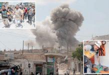 ادلب: معرۃ شورین قصبے پر بم باری کے بعد امدادی کارروائیاں جاری ہیں' منگل کے روز کیے گئے فضائی حملوں میں 12 شہری شہید ہوئے