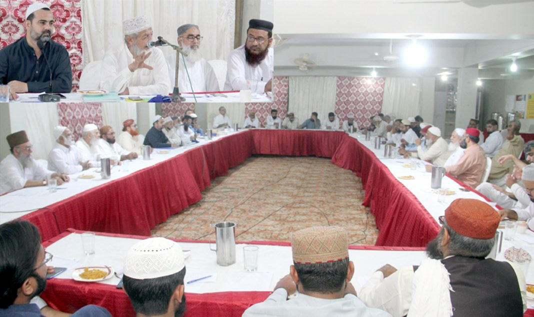 کراچی: امیر جماعت اسلامی سندھ محمد حسین محنتی قبا آڈیٹوریم میں صوبائی مجلس شوریٰ کے اجلاس سے خطاب کررہے ہیں