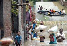 بھارت: سیلاب زدہ علاقوں کے شہری پیدل اور کشتیوں کی مدد سے نقل مکانی کررہے ہیں
