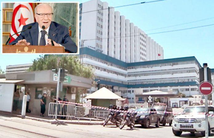 تیونس: صدر کی میت اندر موجود ہونے کے باعث اسپتال کو سیل کردیا گیا ہے'چھوٹی تصویر مرحوم قائد باجی سبسی کی ہے