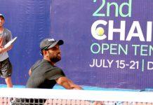دوسرے چیئرمین جے سی ایس سی اوپن ٹینس چیمپئن شپ میں عابد علی اکبر شاٹ کھیلتے ہوئے