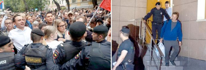 ماسکو: پولیس اپوزیشن رہنما الیکسی ناولنی کو گرفتار کرکے لے جارہی ہے' زیرحراست سیاستدان کے حامی احتجاج کررہے ہیں