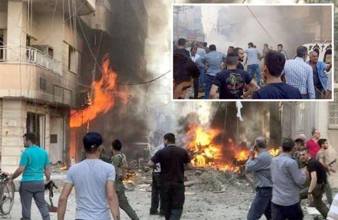 دمشق: شام کے شمالی شہر عفرین میں کار بم دھماکے کے بعد آگ کے شعلے بلند ہو رہے ہیں' جائے وقوع پر افراتفری مچی ہوئی ہے