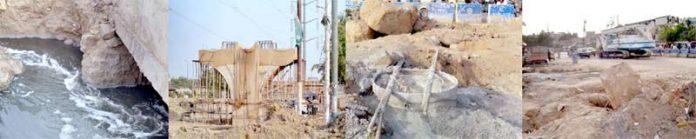 کورنگی نمبر ڈھائی پر فلائی اوور کی تعمیر کرنے والی کمپنی نے ستونوں کی تعمیر کے لیے مرکزی نالابند کرکے اطراف میں تعمیر شروع کردی