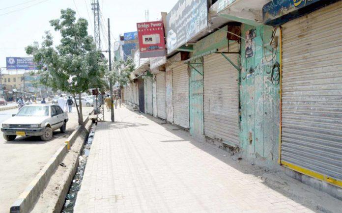 کوئٹہ ،مرکزی انجمن تاجران بلوچستان کی اپیل پر ظالمانہ ٹیکس کے نفاذ کیخلاف کی گئی ہڑتال کے موقع پر دکانیں بند پڑی ہیں