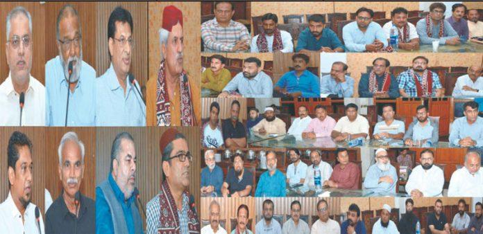حیدرآباد چیمبر آف اسمال ٹریڈرزاینڈ اسمال انڈسٹری کے نو منتخب عہدیداران کے اعزاز میں حیدرآباد استقبالیہ کامنظر