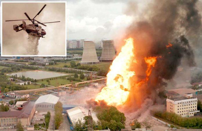 ماسکو: پاور پلانٹ میں دھماکے کے بعد شعلے بلند ہو رہے ہیں' ہیلی کاپٹر کے ذریعے آگ بجھانے کی کوشش کی جا رہی ہے