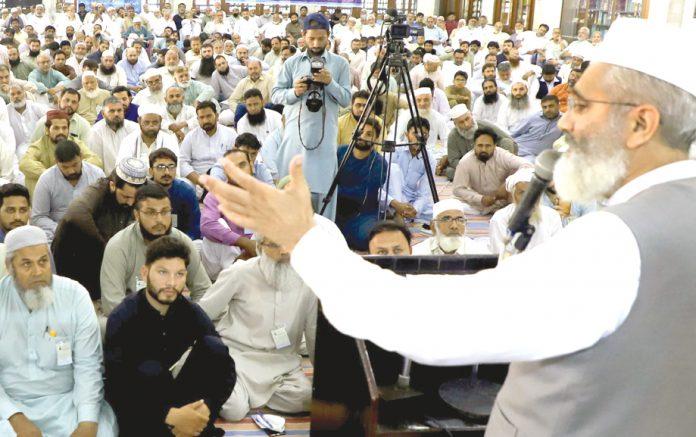 لاہور: امیر جماعت اسلامی پاکستان سراج الحق لیڈرشپ ٹریننگ ورکشاپ سے خطاب کررہے ہیں