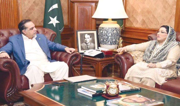 کراچی: وزیراعظم کی مشیر اطلاعات فردوس عاشق اعوان گورنر سندھ عمران اسماعیل سے ملاقات کر رہی ہیں